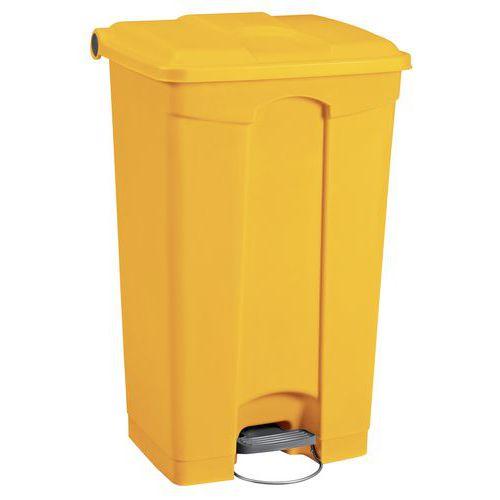 Plastový odpadkový koš Manutan, objem 90 l, žlutý