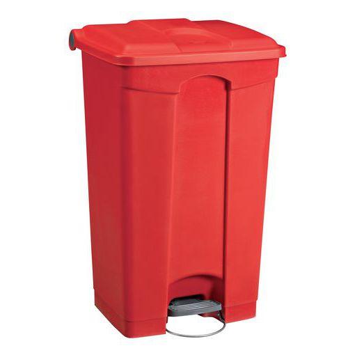 Plastový odpadkový koš Manutan, objem 90 l, červený