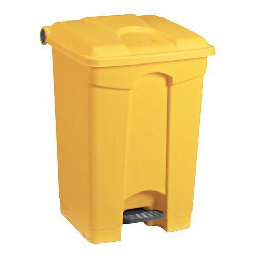 Plastový odpadkový koš Manutan, objem 70 l, žlutý