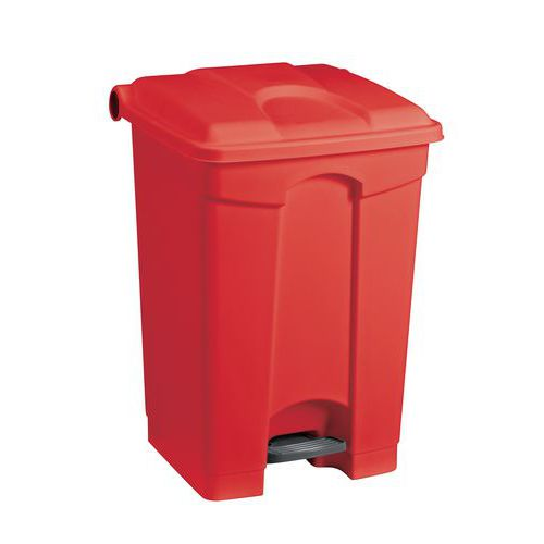 Plastový odpadkový koš Manutan, objem 70 l, červený