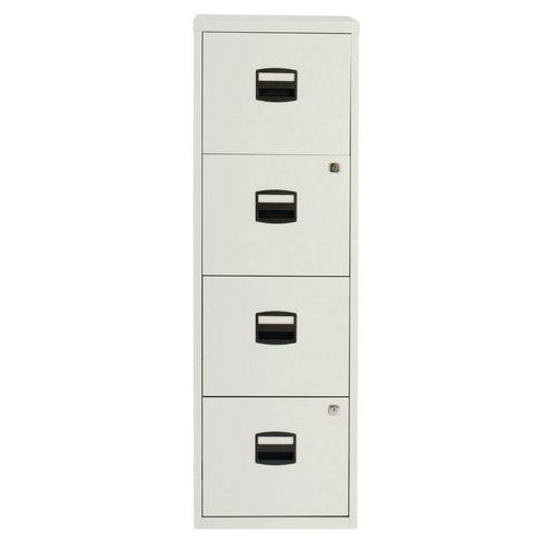 Jednořadá kovová kartotéka A4 Tees, 4 zásuvky, světle šedá - Prodloužená záruka na 10 let