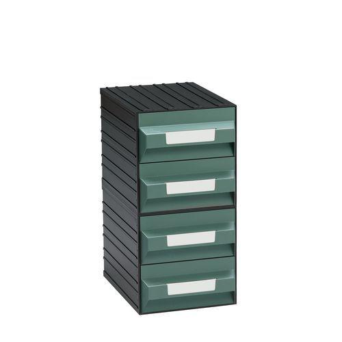 Modulový organizér PS, 4 zásuvky, černý/zelený