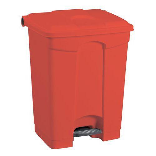 Plastový odpadkový koš Manutan, objem 45 l, červený