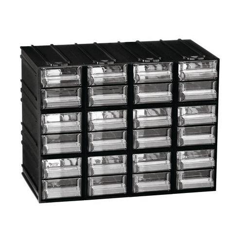 Modulový organizér, 24 zásuvek, černý/transparentní - Prodloužená záruka na 10 let