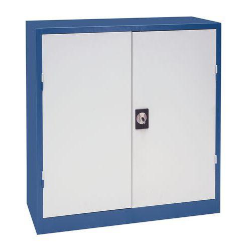 Kovová dílenská skříň Manutan, 106 x 100 x 45 cm, šedá/modrá
