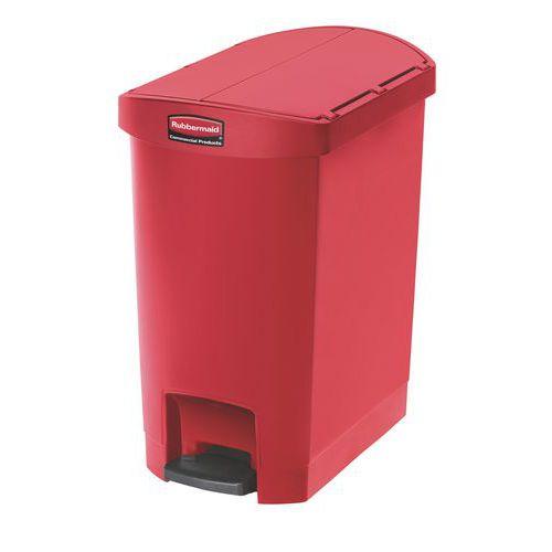 Plastový odpadkový koš Rubbermaid End Step, objem 30 l, červený