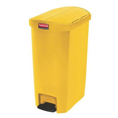 Plastový odpadkový koš Rubbermaid End Step, objem 50 l, žlutý