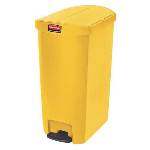 Plastový odpadkový koš Rubbermaid End Step, objem 68 l, žlutý