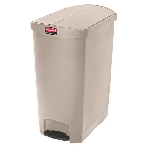 Plastový odpadkový koš Rubbermaid End Step, objem 90 l, béžový - Prodloužená záruka na 10 let