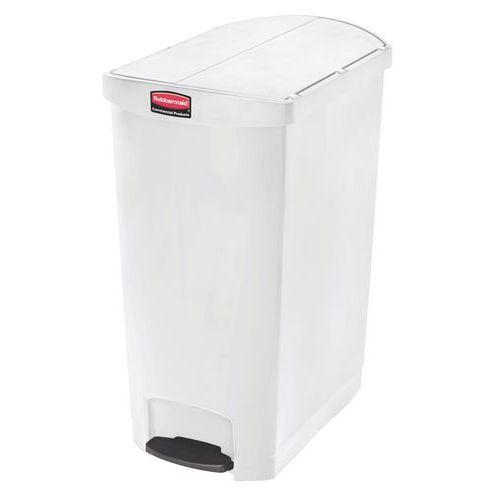 Plastový odpadkový koš Rubbermaid End Step, objem 90 l, bílý - Prodloužená záruka na 10 let