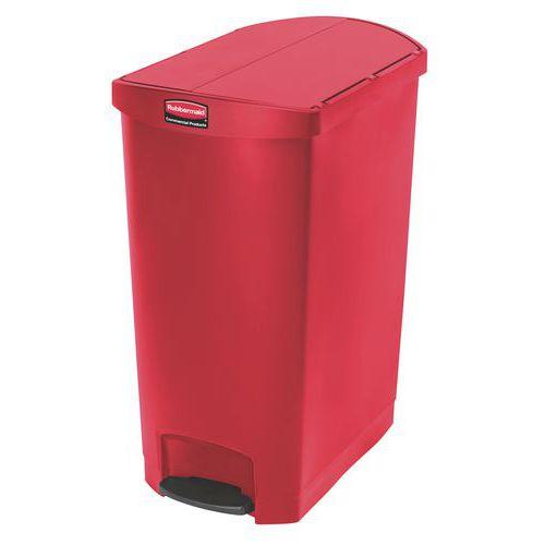 Plastový odpadkový koš Rubbermaid End Step, objem 90 l, červený - Prodloužená záruka na 10 let