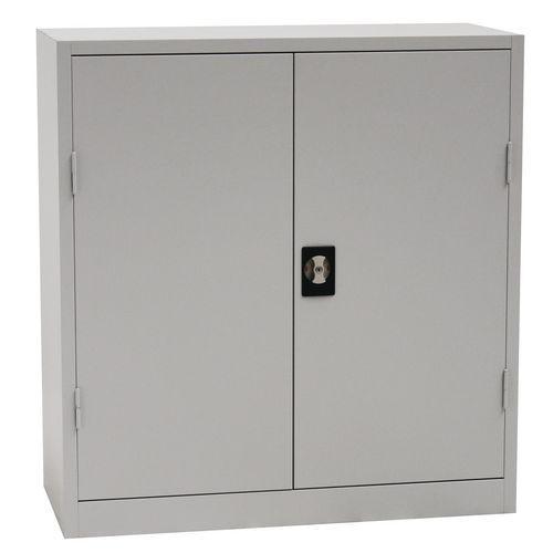 Kovová dílenská skříň Manutan, 106 x 100 x 45 cm, šedá