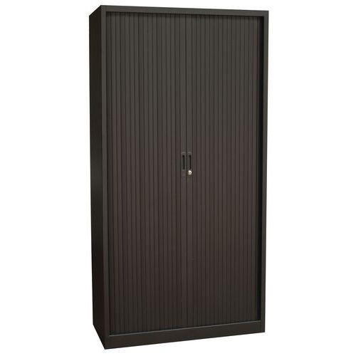 Kovové spisové skříně s roletou, 4 police, 195 x 100 x 45 cm, černá