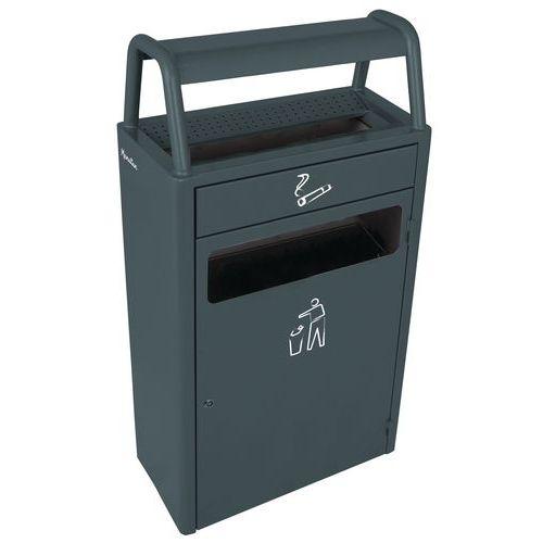 Odpadkový koš s popelníkem,<br>43 litrů, antracit