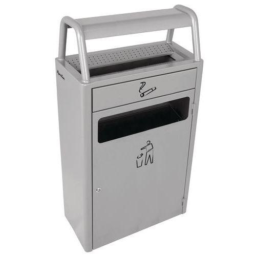 Venkovní odpadkový koš s popelníkem, 43 litrů, šedý
