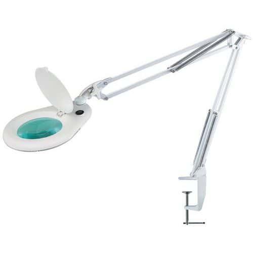 LED laboratorní lampa Manutan Grebes s kruhovou lupou, 9 W