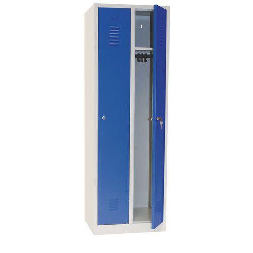 Svařovaná šatní skříň Manutan DURO PROFI, 2 oddíly, šedá/modrá,