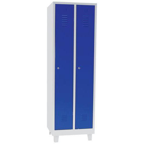 Svařovaná šatní skříň Manutan DURO PROFI na nohách, 2 oddíly, šedá/modrá, cylindrický zámek