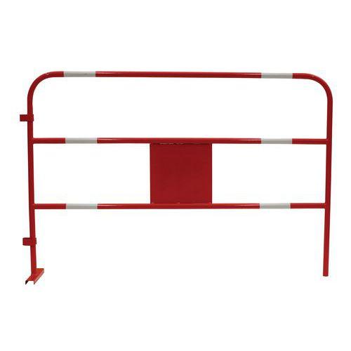 Kovová mobilní zábrana Manutan, délka 150 cm, bílá/červená
