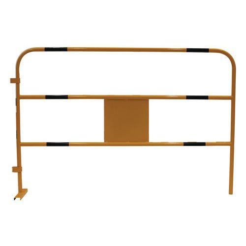 Kovová mobilní zábrana Manutan, délka 150 cm, černá/žlutá