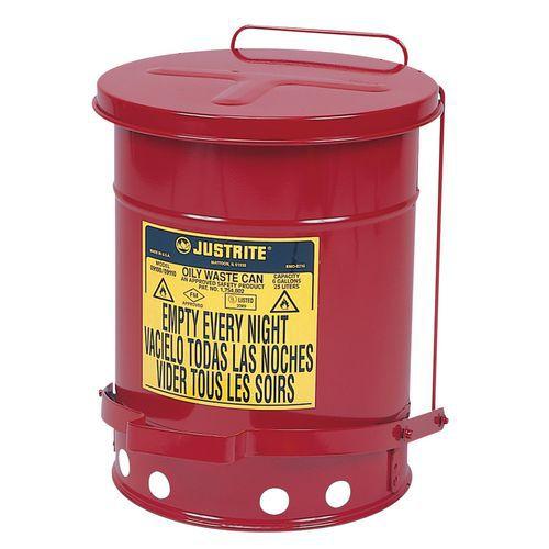 Kovový odpadkový koš pro hořlavé a nebezpečné látky, objem 23 l,
