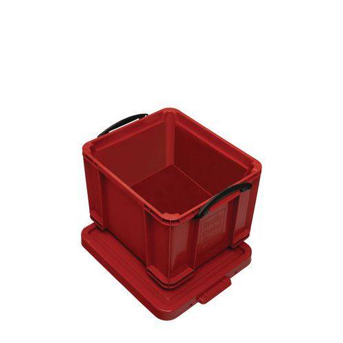 Plastový úložný box s víkem na klip, červený, 35 l