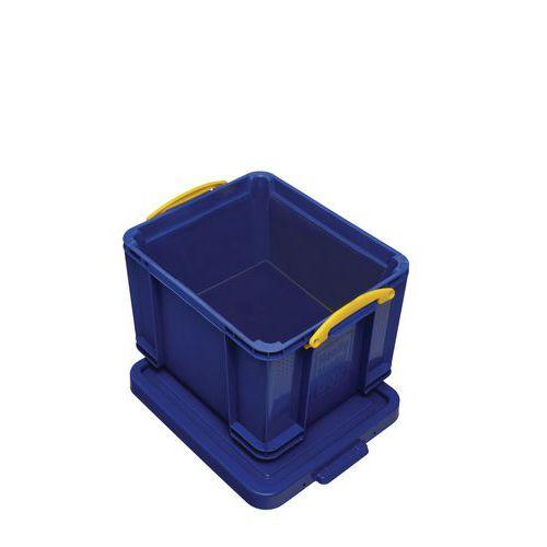 Plastový úložný box s víkem na klip, modrý, 35 l