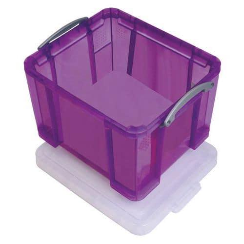 Plastový úložný box s víkem na klip, fialový, 35 l