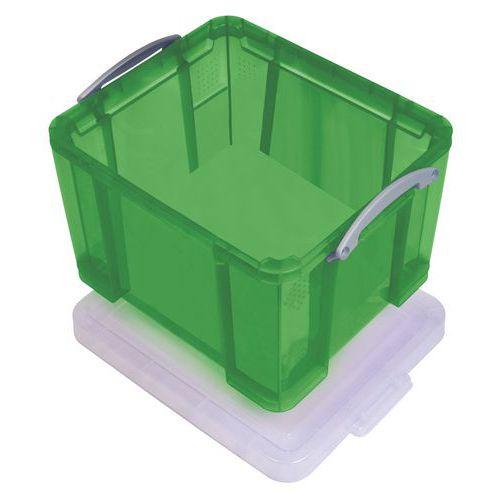 Plastový úložný box s víkem na klip, zelený, 35 l