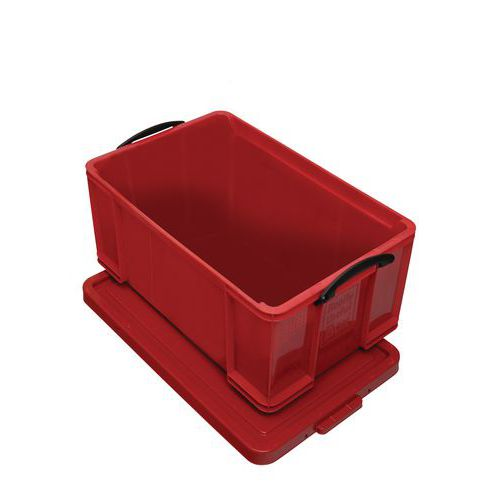 Plastový úložný box s víkem na klip, červený, 64 l