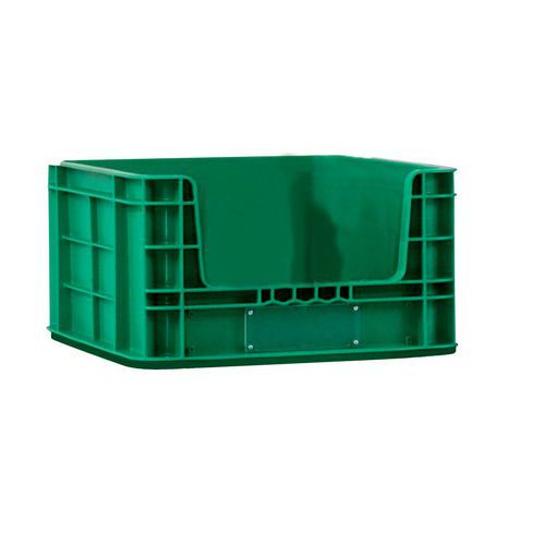 Plastová přepravka PP s vkladovým oknem, 36 l, zelená - Prodloužená záruka na 10 let