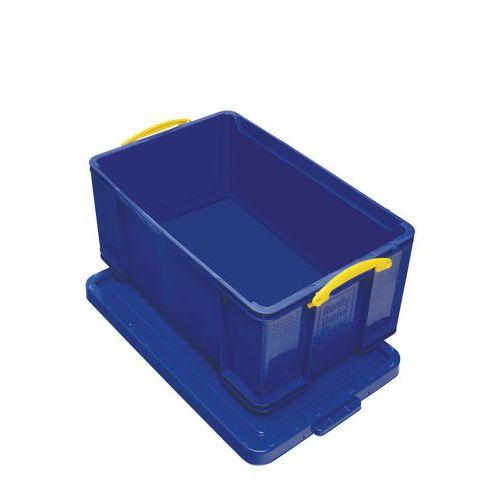 Plastový úložný box s víkem na klip, modrý, 64 l