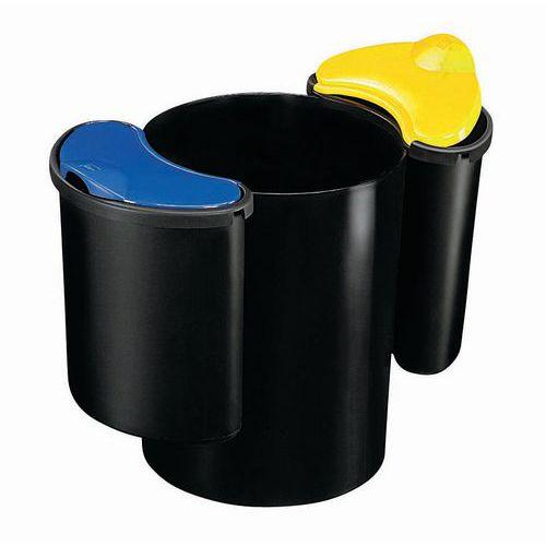 Plastový odpadkový koš Manutan na tříděný odpad, objem 16 + 2 x 7 l - Prodloužená záruka na 10 let