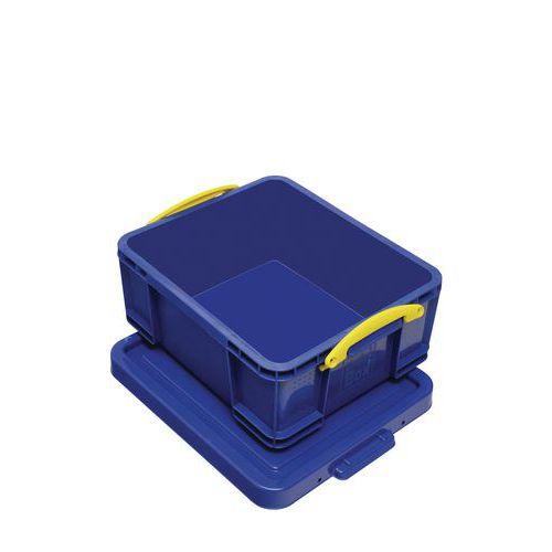 Plastový úložný box s víkem na klip, modrý, 18 l