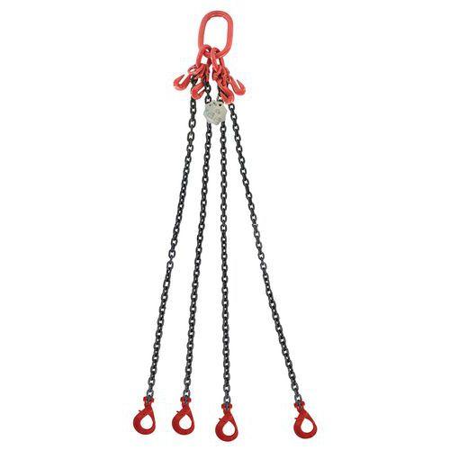 Vázací řetěz s okem a čtyřmi háky, regulace délky řetězu, automa