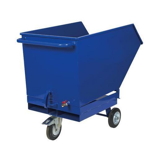 Pojízdný výklopný kontejner se sítem, výpustným kohoutem a kapsami pro vysokozdvižný vozík, objem 400 l, modrý