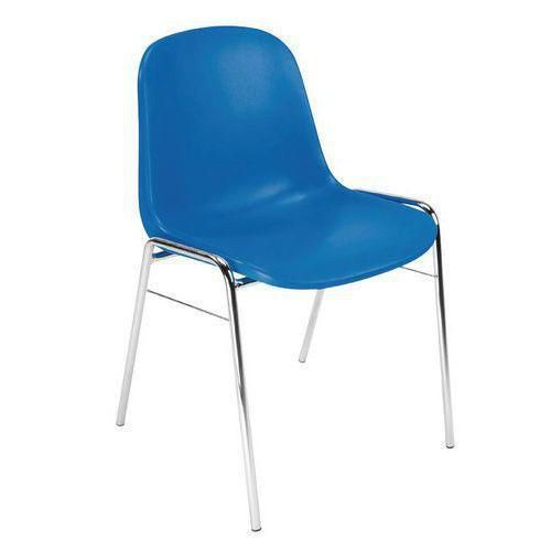 Plastová jídelní židle Manutan Chrome, modrá
