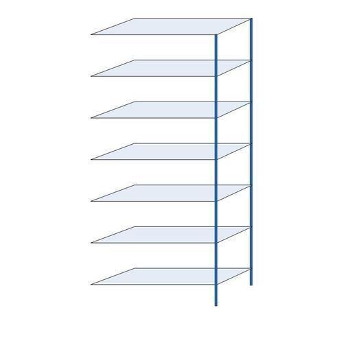 Kovový regál, přístavbový, 300 x 130 x 50 cm, 2 000 kg, 7 polic, modrý