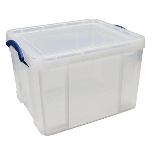 Plastový úložný box s víkem na klip, průhledný, 35 l