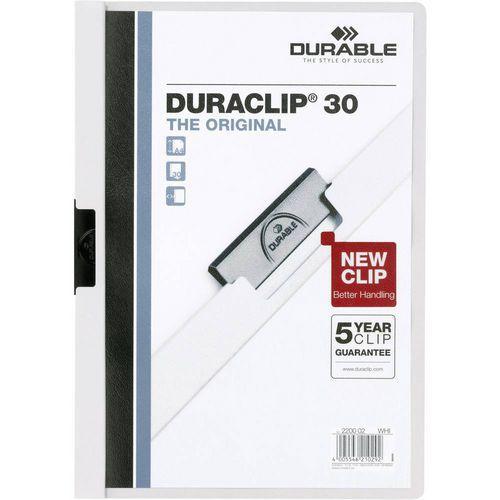 Rychlovázací desky DuraClip, 20 ks, kapacita 30 listů, bílé
