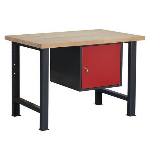 Dílenský stůl Weld se skříňkou 41 cm, 84 x 120 x 80 cm, antracit