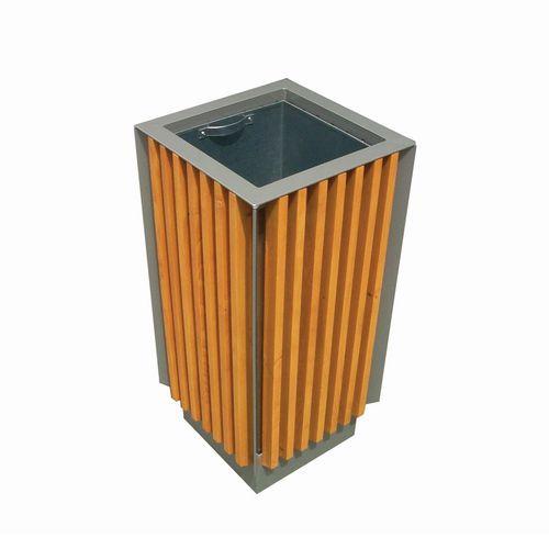 Kovový venkovní odpadkový koš Park Style s dřevěným obložením, objem 65 l