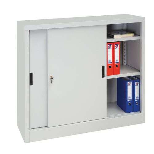 Kovová spisová skříň s posuvnými dveřmi, 2 police, 105 x 120 x 45 cm