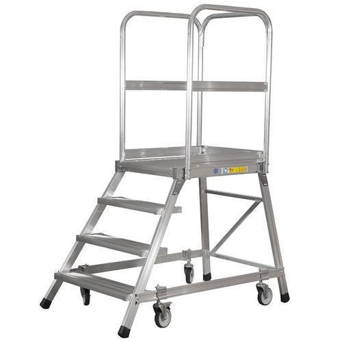 Pojízdný hliníkový/ocelový plošinový žebřík Zarges, 4 stupně