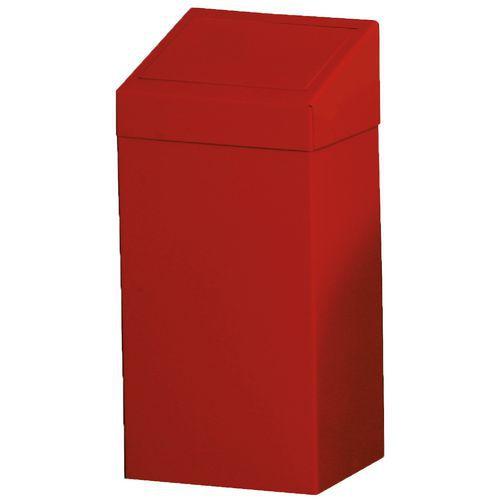 Kovový odpadkový koš na tříděný odpad, objem 50 l, červený