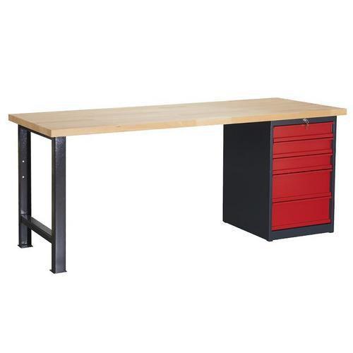 Dílenský stůl Weld s 5 zásuvkami, 84 x 150 x 80 cm, antracit