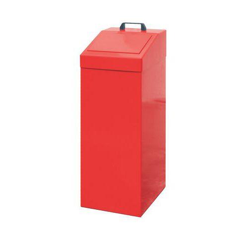 Kovový odpadkový koš na tříděný odpad, objem 100 l, červený