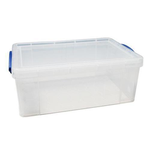 Plastový úložný box s víkem na klip, průhledný, 9 l