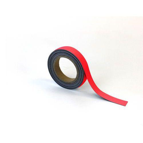 Magnetická páska na regály Manutan, 10 m, červená, šířka 25 mm