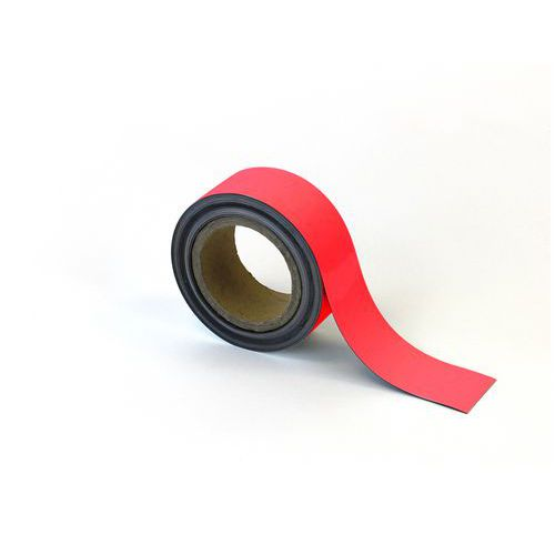Popisovatelná páska na regály, magnetická, červená, 5 x 1000 cm